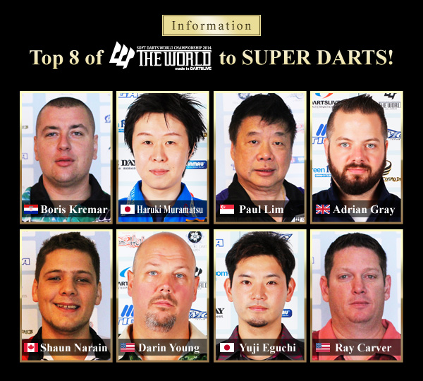 Top 8 of THE WORLD to SUPER DARTS 2015