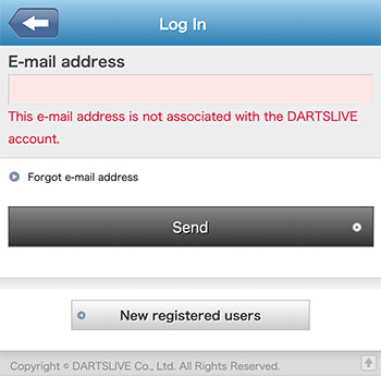 Login Problem of DARTSLIVE App