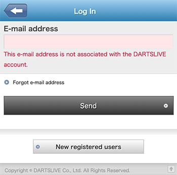 Login Problem of DARTSLIVE App