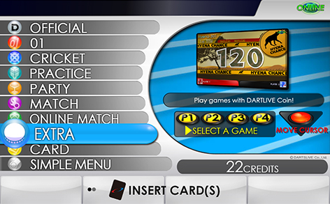 Full Menu Screen on DARTSLIVE2